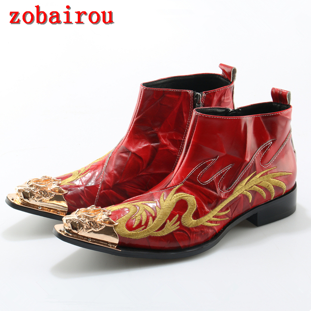 2017 Metal Pointed Toe Embroidery Dragon Leather Boots Man Cowboy Boots Red Wedding Shoes Ankle Boots Men Botines