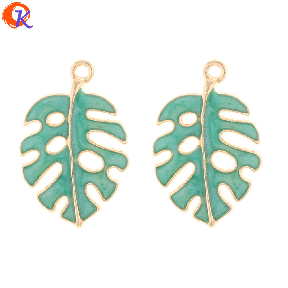 Cordial Design 50Pcs 18*28MM Jewelry Accessories/Earring Connectors/Green Leaf Shape/DIY Making/Hand Made/Earring Findings
