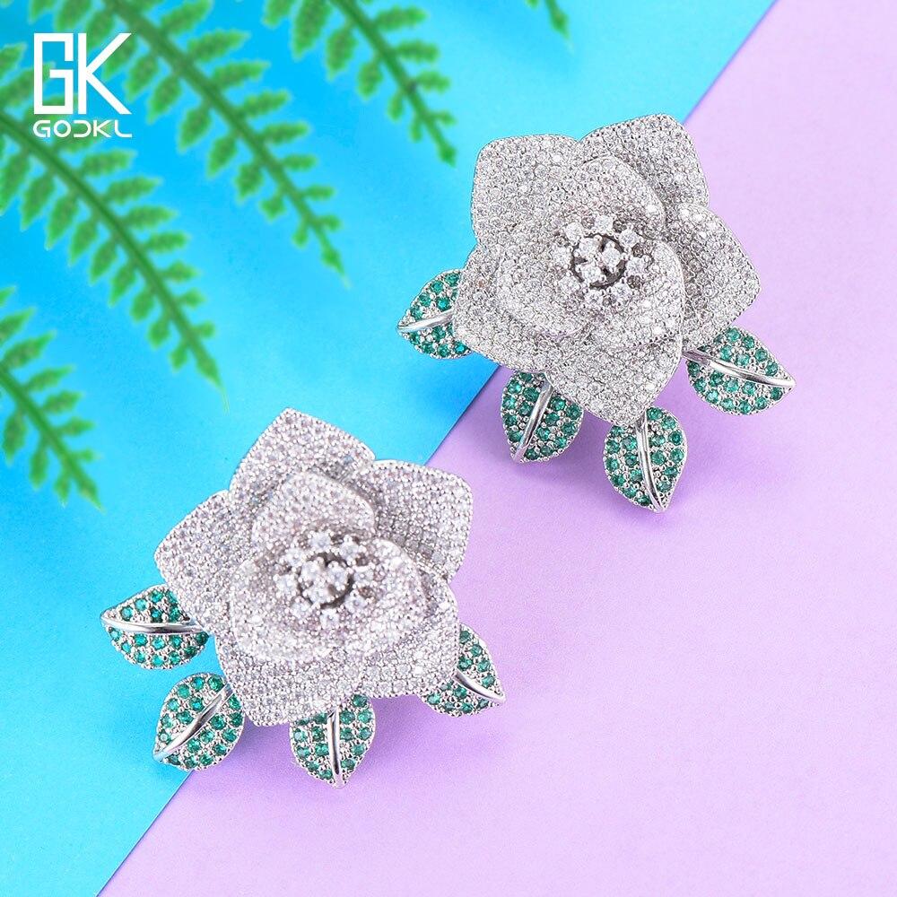 GODKI 34 мм Роскошные цветы кластер серьги гвоздики для женщин Свадебные с кубическим Цирконом Кристалл африканские Дубай серебряные свадебны