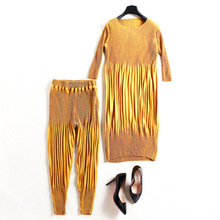 Elastic knit pleated long t-shirt and pants 2 piece pants suits new brand runway high quality women sprint pants suits