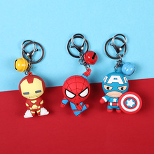 цена 3D Cartoon Figure PVC Marvel Avengers Keychain Cute Superhero Batman Spider Man Key Chain Key Ring Men Key Holder Trinket Gift онлайн в 2017 году
