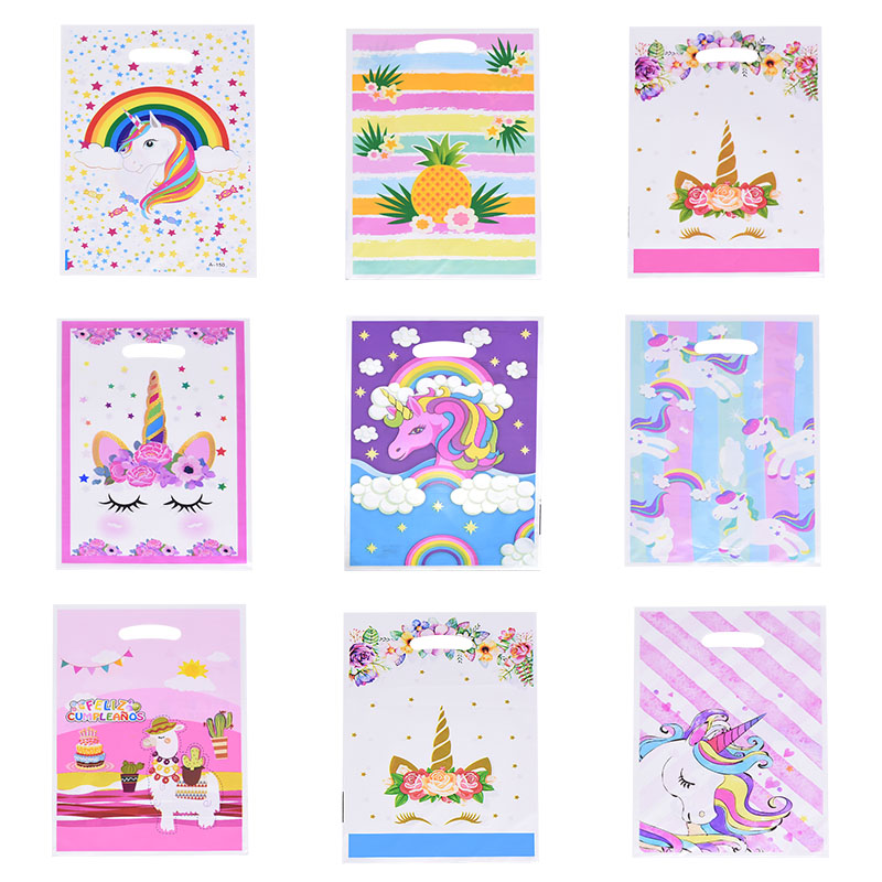 10/20Pcs Gift Bags Loot Bags Rainbow Stars Unicorn Plastic Bags Kids Birthday Party Supply Event Party Decoration Set Candy Bags