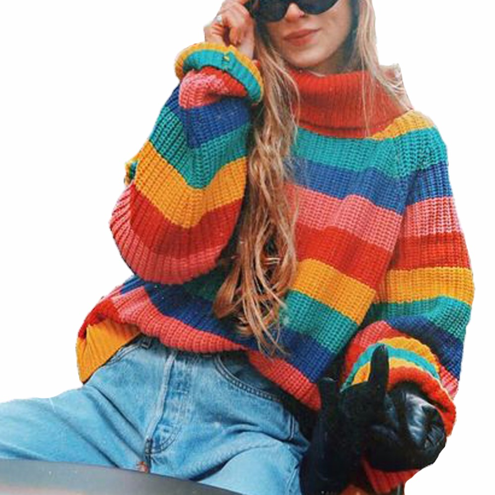 a2f1cadf4d Women Rainbow Striped Pullover Sweaters 2018 Winter And Autumn Turtleneck  Loose Oversizd Knit Jumpers Fashion Colorful Outerwear