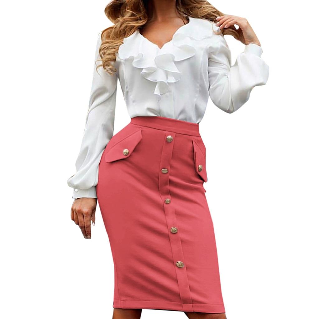 Womail Women Skirt Summer Fashion High Waisted Pencil Club Skirt Bodycon Button Pocket Skirt Daily Casual 2019 Dropship F8