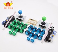 DIY Arcade Game Joystick Kits LED Arcade Buttons + USB Controller Joystick Cables Arcade Game Parts Set 2 Players