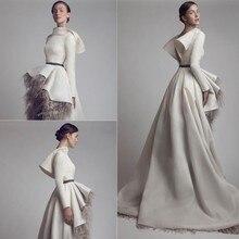 Wunderschöne High-Low Fell Arabischen Abendkleid Drapierte Schärpe High Neck Satin-formales Kleid Regelmäßige Langen Ärmeln Mitte Osten Vestido