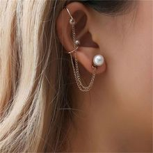 1Pc Faux Pearl Double Chain Earring Clip Long Tassel Ear Cuff Clip Women Jewelry vintage faux pearl embellished body chain for women