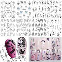 1 blätter Einfache Schwarz Nail art Wasser Transfer Aufkleber DIY Schmuck Blume Abziehbilder Nägel Wasserzeichen Tattoo Nagel Werkzeuge TRSTZ638-658