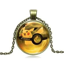 Anime Jewelry Pendant Necklace Pokemon Pikachu Glass Cabochon Japanese Hot Anime Black Chain Necklace