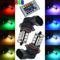 Mayitr 2pcs Colorful RGB Car Headlight Wireless Control 9006 5050 27 SMD LED Decoration DRL Fog