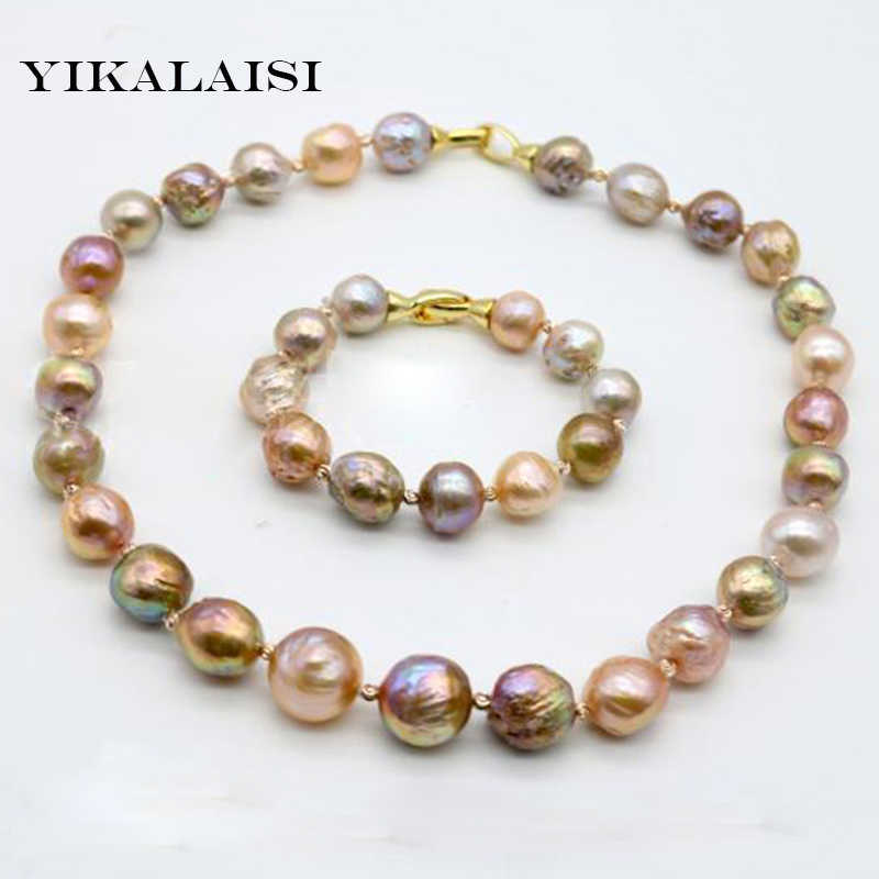 YIKALAISI 2017 100%Natural Baroque Pearl Jewelry Necklace Bracelet 10-12 MM Pearl  925 sterling silver jewelry For Women