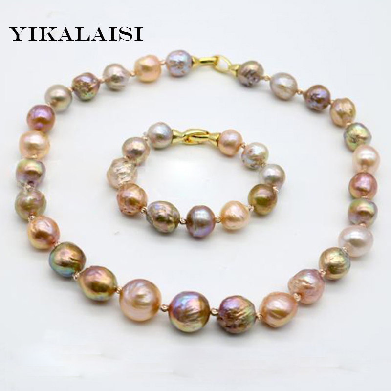 YIKALAISI 2017 100%Natural Baroque Pearl Jewelry Necklace Bracelet 10-12 MM Pearl 925 sterling silver jewelry For Women baroqueonly s925 sterling silver 100% natural white baroque big 15 25mm pearl bracelet fashion jewelry for women hl