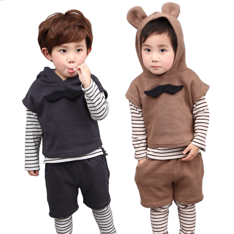 New Spring England Boy Leisure Kids Costume Suit Children Clothing Sets 2-6T Boys Clothing Set Small Bearded Three-piece 2017 new boys clothing set camouflage 3 9t boy sports suits kids clothes suit cotton boys tracksuit teenage costume long sleeve
