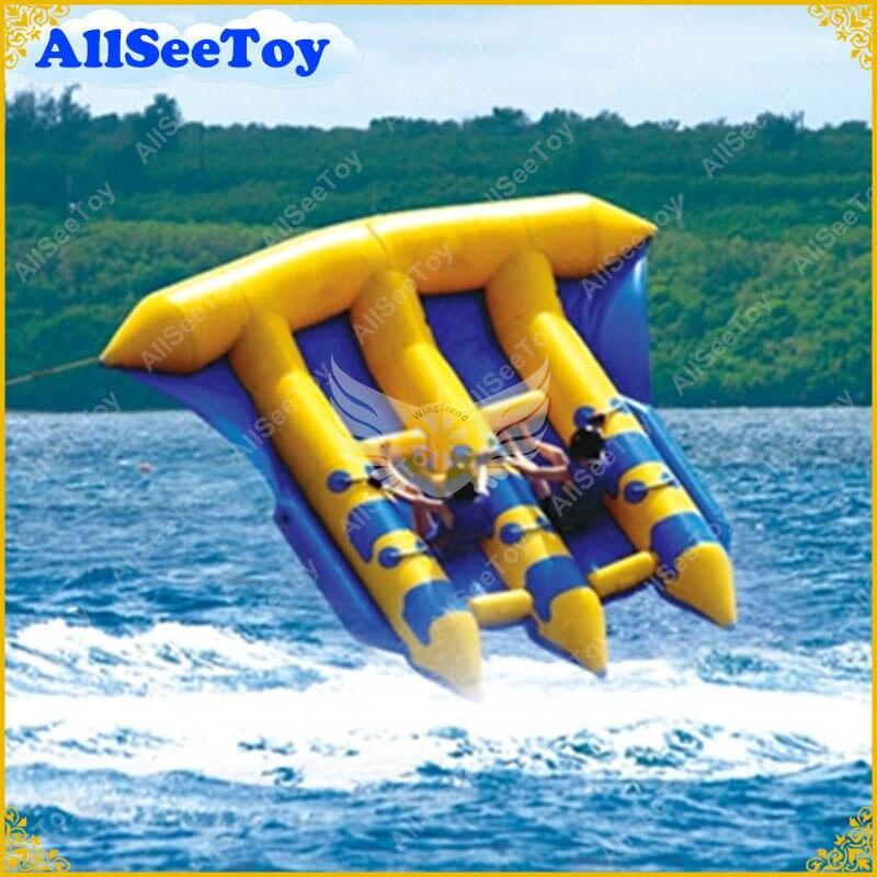Jeu d'eau gonflable de bateau de banane de poisson volant gonflable de qualité commerciale, livraison gratuite et pompe à Air inclus