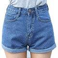 Bazaleas 2017 летний стиль Ретро высокой талией Женщины джинсовые шорты Синий свободные короткий женский тонкий керлинг джинсовые