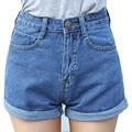 Bazaleas 2017 verano estilo Retro de cintura alta de Las Mujeres pantalones cortos de mezclilla Azul de la corto femenino de curling delgado jean