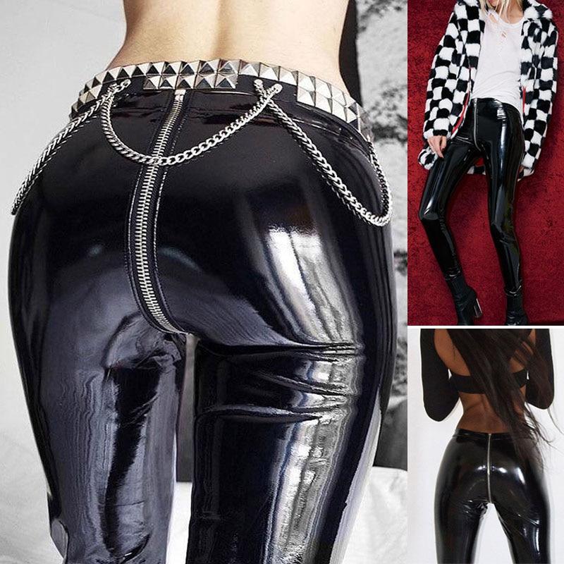 Women PU Leather Leggings Sexy Hip Push Up Pants Zip up Shiny Skinny Leggings Trousers H9