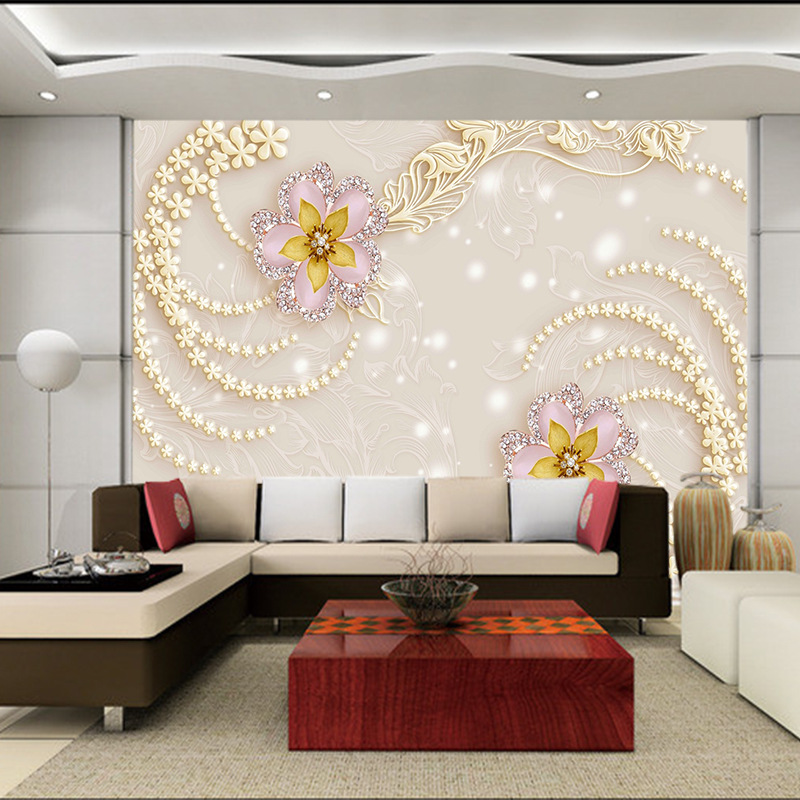 Europe 5d Luxury Floral Embossed Wallpaper Mural For Living Room Sofa Tv Wall Decor