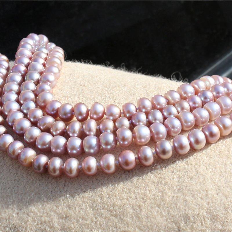 RUNZHUQIYUAN 2017 100% collier long de perles d'eau douce naturelles couleur pourpre 7-8-9-10mm perle bijoux de mariage pour les femmes meilleur cadeau - 3