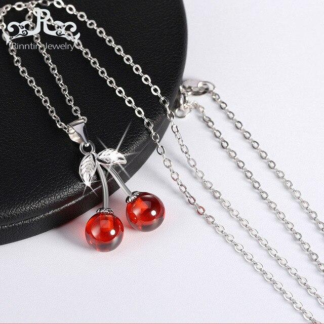 Rinntin Reale 925 Sterling Silver Jewelry Pietra Naturale Rosso Ciliegia Collane Del Pendente Carino Collana Della Catena Dei Monili di Fascino Caldo TSN03