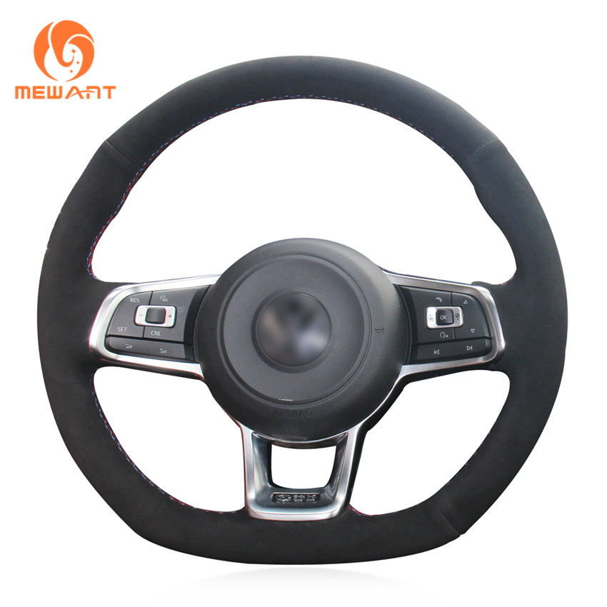 MEWANT DIY Car Steering Wheel Cover Black Suede for Volkswagen VW Golf 7 GTI Golf R MK7 VW Polo GTI Scirocco 2015 2016 special hand stitched black leather steering wheel cover for vw golf 7 polo 2014 2015