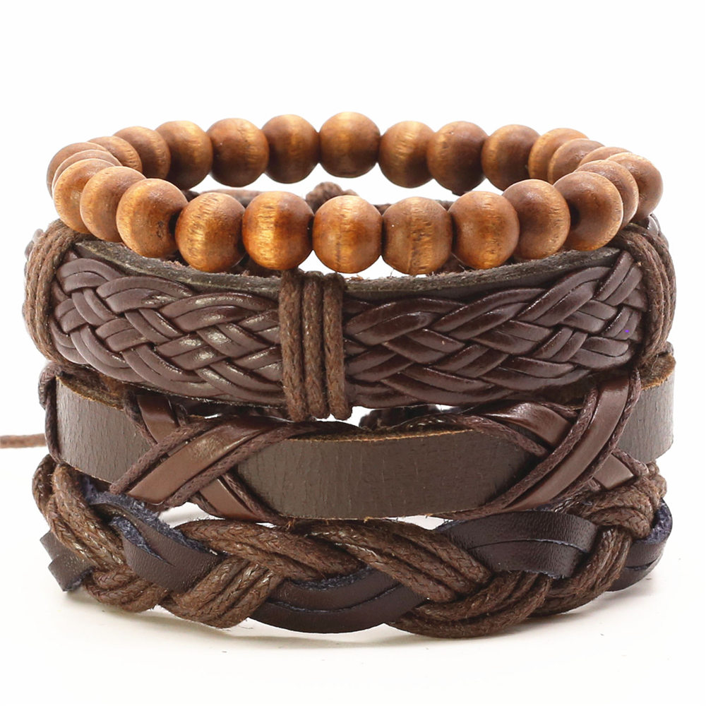 Set Handmade Beads Charm Woven Leather Men Bracelets  For Women Bangles Homme