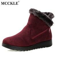MCCKLE 2017 Kobiety Winter Snow Boots Podgrzewane Wkładki Ciepłe Popularne Zipper Projekt Flock Kostki Buty damskie Płaskich