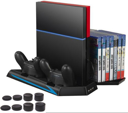 Multifunctional Vertical Stand for PS4 - Cooling Cooler Fan Controller Charging Station with Game Storage Dualshock Charger+caps new multi function cooling fan cooler vertical stand cooling fan with dual charging station for ps4 slim gaming console