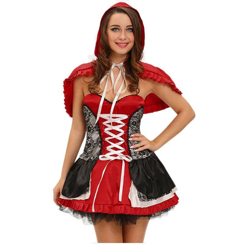 f1eb342f380e Juego Cosplay disfraces de Halloween sexy traje de Caperucita Roja para las  mujeres cuentos de hadas vestido fantasias Adulto Femenino