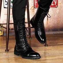 цена на New Punk Style Men's Waterproof High Top Rivets Long Boots Combat Pointed Toe Lace Up Mens Snow Martens Keep Warm Ski Boots Men