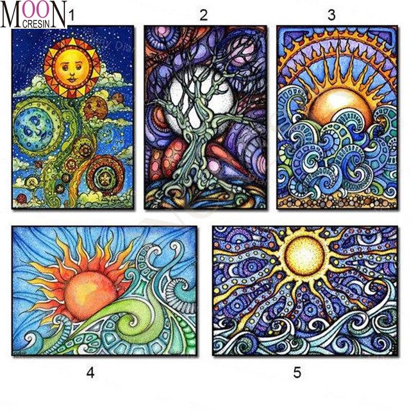 5D Diy Diamond Embroidery Cartoon Full Diamond Painting Cross Stitch Sunning & Moon  Diamond Mosaic Full Square Drill Decoration