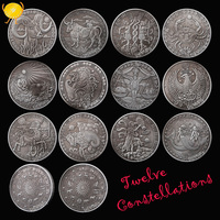 12pcs Twelve Constellations Antique Silver Commemorative Coin Psychology Talent Character Astrology Sun Moon Coins Collectibles