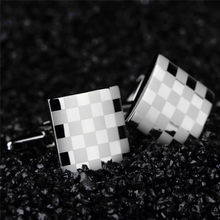 1pair Men Cuff Links Stainless Steel Mens French Shirt Laser Engraving CuffLinks Men Wedding Groom Party Grid Cufflinks Fashion(China)
