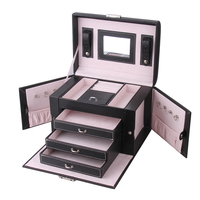 Large Jewelry Box Velvet Display Organizer Girls Rings Necklace Storage and Packaging Gifts Earring Jewellery Mirror Lock Case