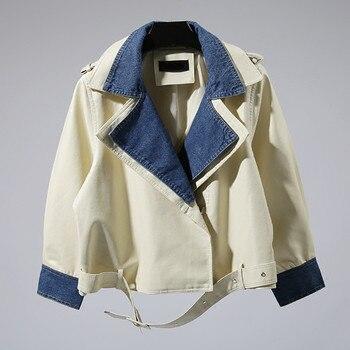 Leather jacket spring women new denim stitching fake two short jacket loose PU leather classic lapel female leather coat DT0143