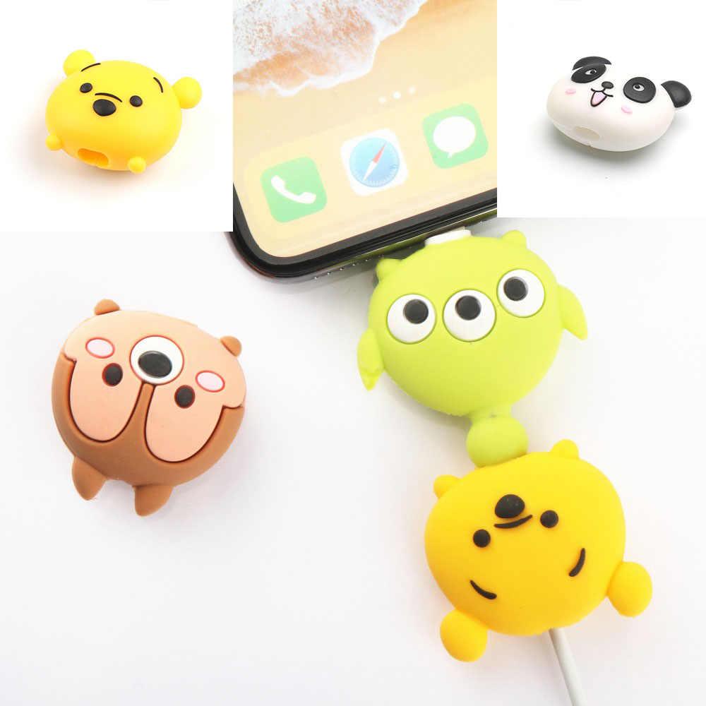 かわいい漫画の携帯電話 USB ケーブル用 iphone ケーブル chompers コード動物咬傷充電器ワイヤーホルダーオーガナイザー保護