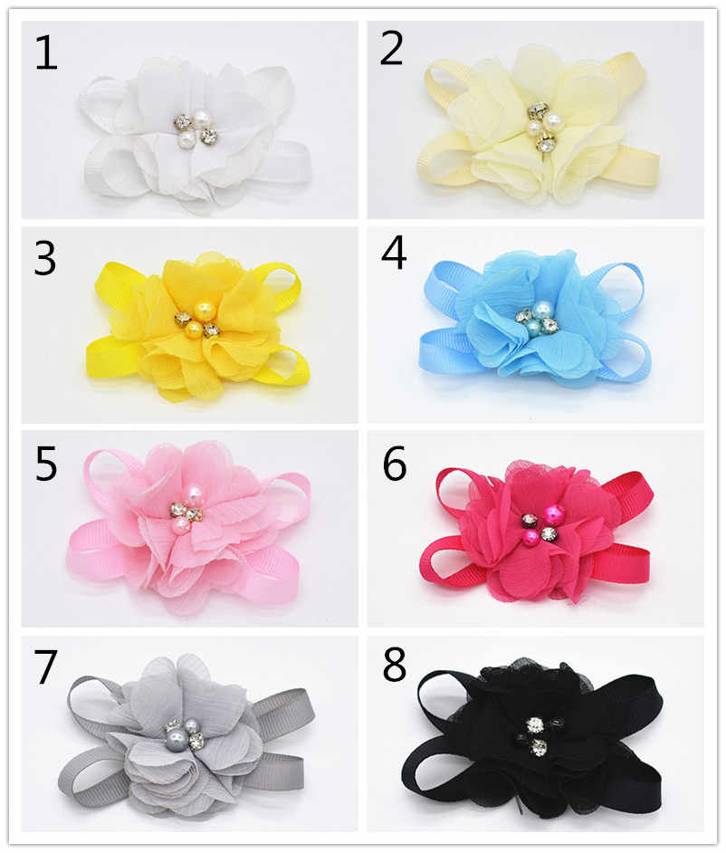 Korean Headwear Ribbon Hair bows clip with Gray lace pearl flower boutique Cute girl Hairpin Hair accessories 1pair FJ007