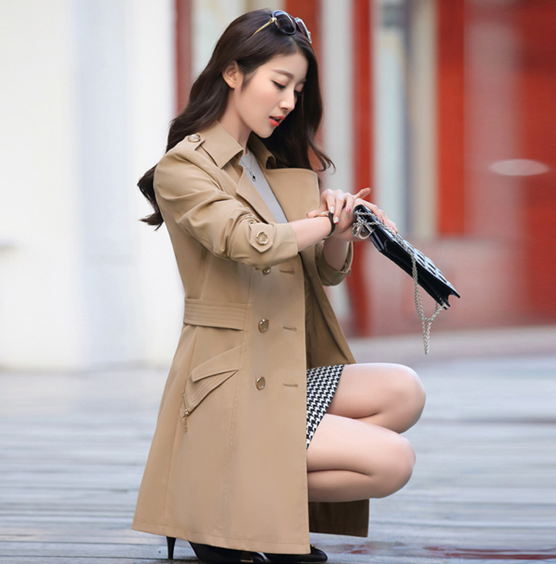 Date Automne Mode Femmes Classique Boutons Tranchée Manteau Imperméable Imperméable Élégant Bureau D'affaires Survêtement Mince Femme