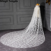3,5 м собор свадебная фата один слой Свадебные вуали обрезанная кромка Свадебные вуали с гребнем velo novia Свадебные аксессуары Mingli Tengda