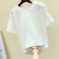 2019 Summer Shirts Lady New Korean Ball Chain Feather Decoration Round Collar Short Sleeve T shirt Women's Leisure Wear