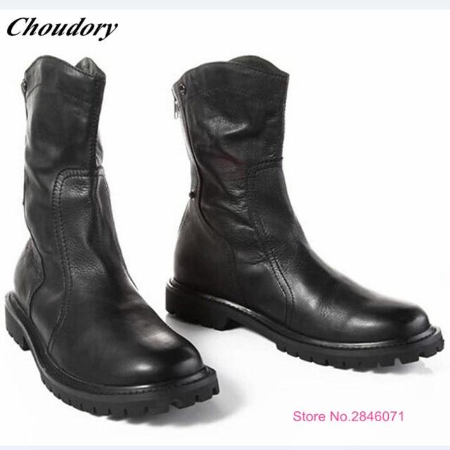 d2814b27f3979 Full Grain Leather Chelsea Boots Back zipper Falt Martin Boots Men Handmade  Cowboy Boots Sapato Masculino Mid-Calf Botas Hombre