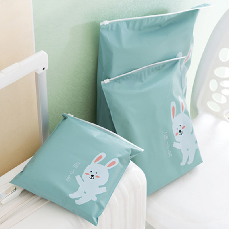 3 pcs Waterproof Cartoon Rabbit Zipper Pouch Storage Bags Travel Shoe Laundry Makeup Cosmetic Underwear Camping Organizer case