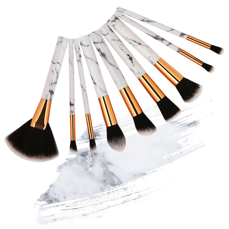 9Pcs Marble Pattern Makeup Brushes Kits Cosmetic Powder Foundation Concealer Eye shadow Blending Make up Tool