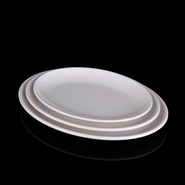 4pcs Tableware Oval Food Plate Plain White Plate Dish Desert Snack Disc Tray Fish Dish Plastic & 4pcs Tableware Oval Food Plate Plain White Plate Dish Desert Snack ...