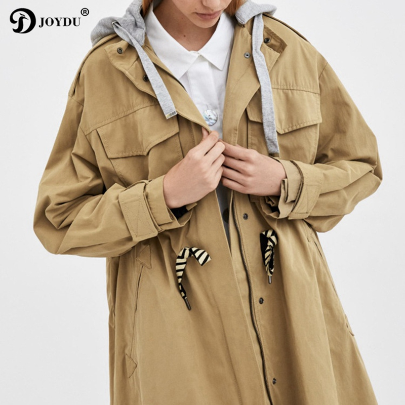 JOYDU Overzid Loose Fall Winter Long   Trench   Coat for Women Fashion Pockets Drawstring Hooded Casual Coats 2018 New Chic Overcoat