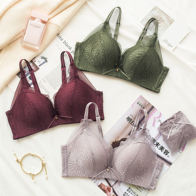 d03e9fa987f06 Wasteheart Women Fashion Green Lavender Lace Bra Sets Bralette Mesh Panties  Wireless Underwear Sexy Lingerie Sets A B Japanese