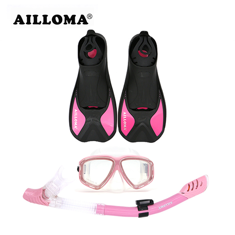 AILLOMA Mask Snorkel Fins Diving Shoes for Swimming Goggles Dry Tube Anti-Fog Eyewear Pink Adult Diving Equipment Flippers Set high flexibility rubber swimming fins submersible flippers outdoor sports comfortable diving fins shoes for swimming shoes