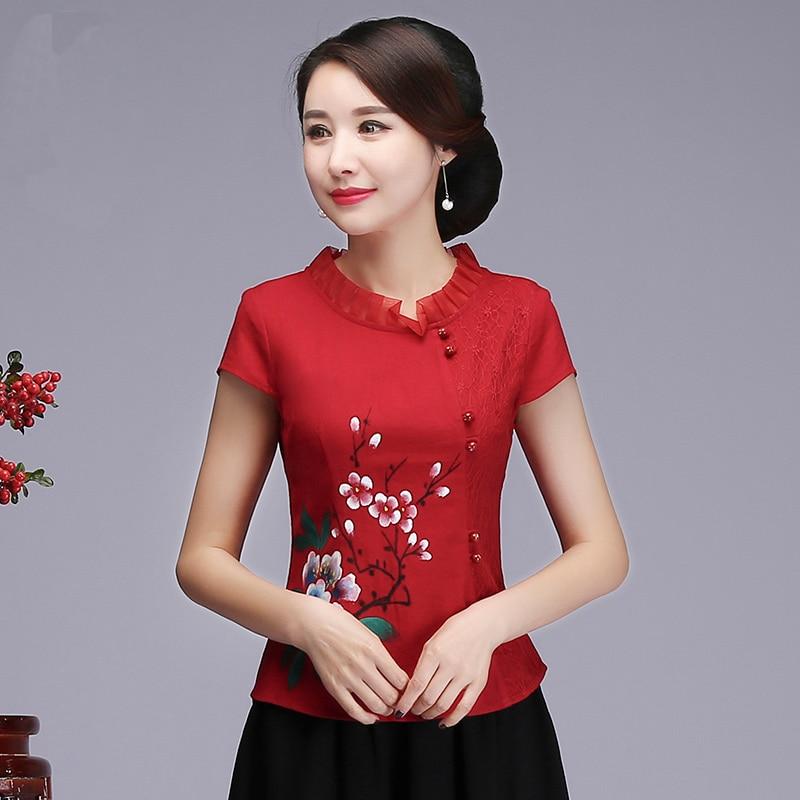 Imprimé élégant fleur femmes chemise d'affaires chinois traditionnel vêtements tempérament Noble femmes fête Blouse taille M L XL XXL 3XL