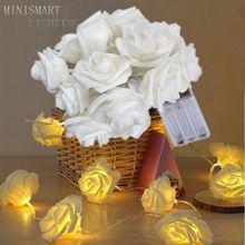Fashion Holiday Lighting 20 LED Rose Flower String Lights Fairy Wedding Christmas Party Decoration LED Lamp New Year Strip Light