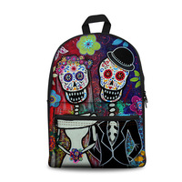 THIKIN Funny Cartoon Skull Unique Printing Zipper Backpack Bags for Teenage Girls Boys Classic Women Bookbag Canvas Daypack